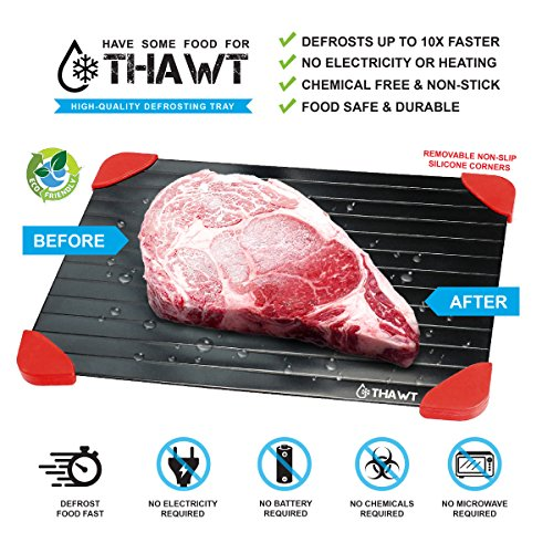 - Thawt Defrosting Tray with Silicone Rapid Thaw Frozen Food Fast No Electricity, Battery, Microwave, Heating Pads, or Chemicals Safest Quickest Natural Eco Friendly to Defrost Meat, Chicken, Vegetables