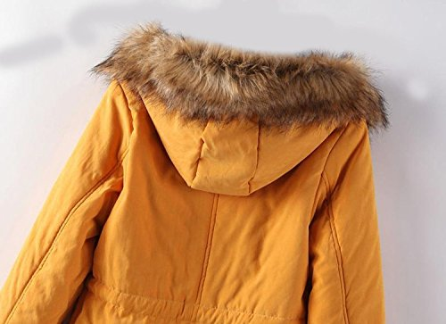 Coat Womens Winter Yellow Warm Hooded PANDA Military Trim COS Fur Parka with qC6T5wX