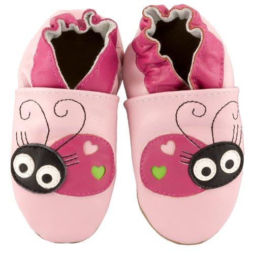 SmileBaby Premium Lauflernschuhe Krabbelschuhe Babyschuhe Rosa Marienkäfer 6 bis 12 Monate