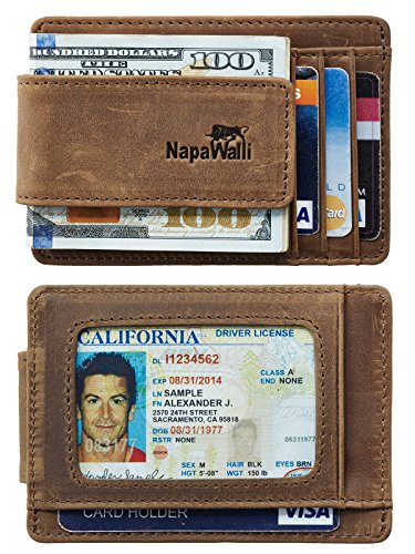 NapaWalli Genuine Magnetic Napa Leather Front Pocket Money Clip Slim Minimalist Wallet Made with Powerful RARE EARTH Magnets Plus RFID Blocking (Crazy Horse Khaki) Mens Money Clip Wallet