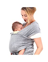 Innoo Tech Baby Sling Carrier Natural Cotton Nursing Baby Wrap Suitable for Newborns to 35 lbs Breastfeeding Sling Baby Holder Soft Safe and Comfortable Nice Baby Shower Gift Gray BOBEBE Online Baby Store From New York to Miami and Los Angeles