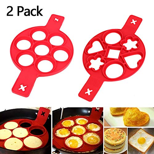 Pancake Mold Maker, Pancake Molds Ring Fried Egg Mold Upgrade 7 Holes Nonstick Silicone Baking Round Mold Pancake Maker Egg Ring Muffin Pancake Mould (2 pack, B)