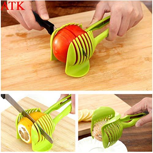 Atk Plastic Onion Tomato Lemon Vegetable Slicer Cutting Aid Guide Holder Slicing Cutter Gadget Tomato Onion Lime Lemon Holder And Slicer Aid Tool  Random Color
