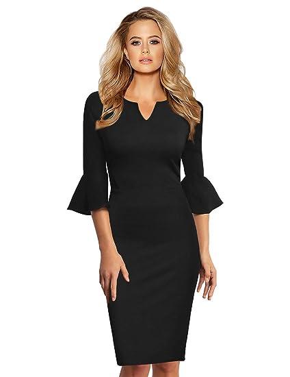 de Femme avec KOJOOIN Robe Robe Business pour Style soirée Noir de qwwBH0I