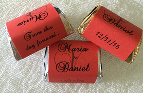 - 300 RED Personalized MONOGRAM WEDDING CANDY WRAPPERS/Stickers/Labels (Make your own event or party favors using your HERSHEY NUGGET CHOCOLATES)