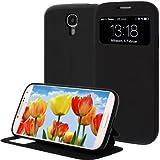 Tasche mit Öffnung vorne für Samsung Galaxy S4 in Schwarz mit Aufstellfunktion