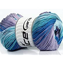 Lot of 4 x 100gr Skeins Ice Yarns CAMILLA COTTON MAGIC (100% Mercerized Cotton) Yarn Blue Shades Lilac Shades
