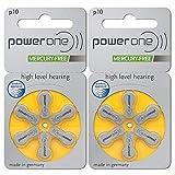 PowerOne (60ea/pkg) p10 Zinc Air Hearing Aid Batteries (Yellow) Size 10 (2 Packs (60 Batteries))