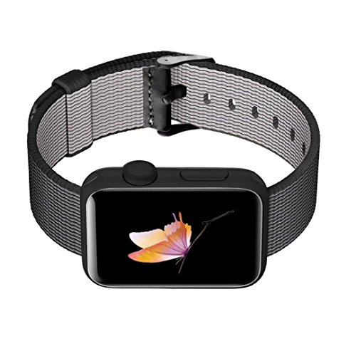 INTENY Woven Nylon Fabric Wrist Strap Replacement Band with Classic Square Stainless Steel Buckle Compatible for Apple Watch iwatch Series 1/2, Sport and Edition, 42 mm - Black