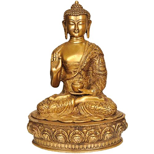 - Idol Collections Blessing Buddha Robe Brass Statue, Golden