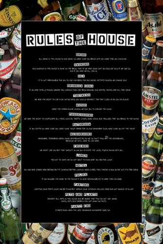 Rules of the House Beer Drinking College Party Humour Poster