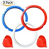 Silicone Sealing Ring for Instant Pot Accessories 3 Quart+ Free Silicone Oven Mitts for Pressure Cooker Accessories,Sweet and Savory,Common Clear Edition Ring Fit IP Models (Red,Blue,Clear, 3 Quart)