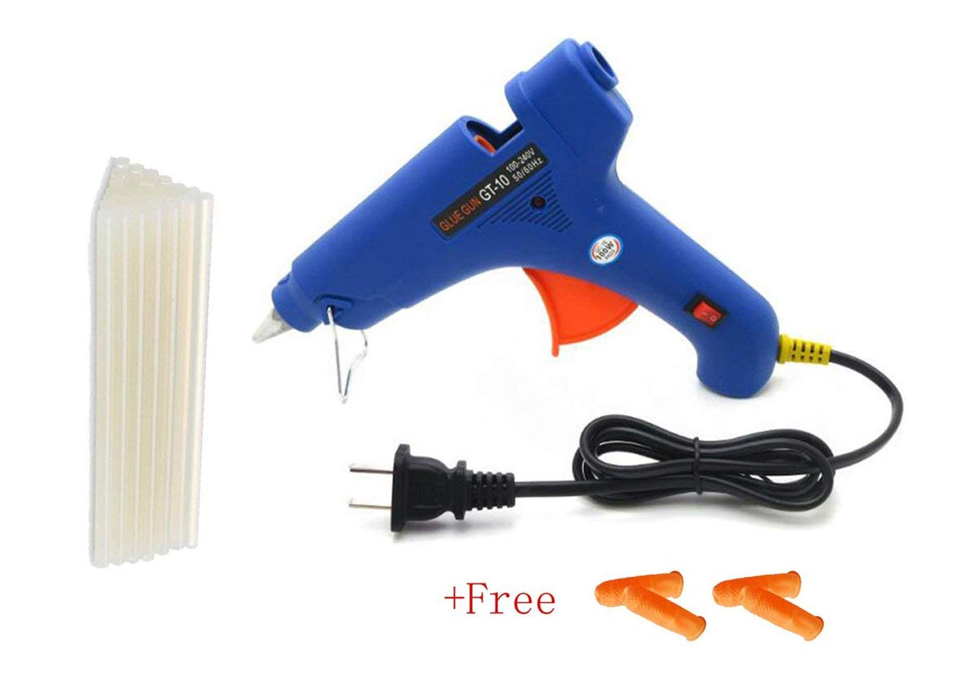 KingBra 100W Hot Glue Gun with 20pcs Transparent Glue Gun Sticks, Free 4pcs Finger Caps for Arts & Crafts, Sealing and Quick Repairs