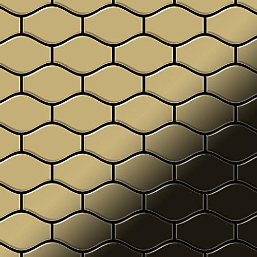 Price comparison product image Mosaic tile massiv metal Titanium Gold mirror gold 1,6mm thick ALLOY Karma-Ti-GM designed by Karim Rashid