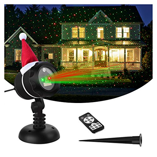 VERKB Laser Christmas Lights, Red Green Stars Effect, Wireless Remote Control IP65 Waterproof Projector for Outdoor Garden Party Wedding Xmas Tree