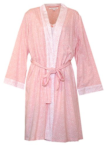 Carole Hochman Travel Set - Robe and Nightgown Set (Peach/Cream Outlined Floral Print, (Carole Hochman Print Robe)
