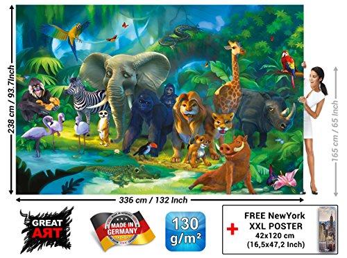 Jungle animals photo wall paper safari mural xxl for Decor mural xxl