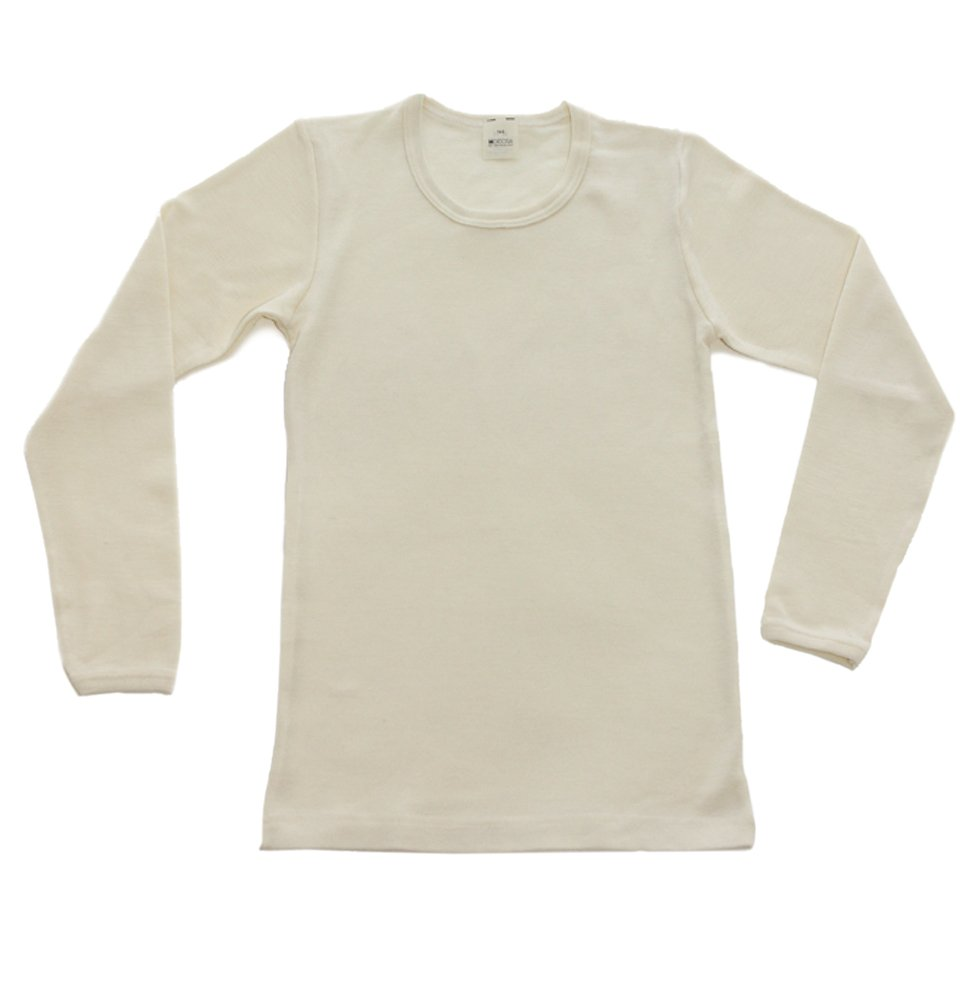 Hocosa of Switzerland Big Kids Organic Wool Long-Sleeved Undershirt, Natural White, s. 128/8 yr by Hocosa of Switzerland
