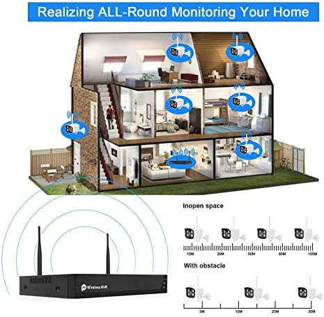 Wireless Security Camera System with Two Way Audio and Alexa,1080P 8CH NVR 4Pcs WiFi IP Surveillance Camera for Outdoor Indoor Home/Waterproof/Night Vision/Motion Alert/Remote Access,1TB Hard Drive
