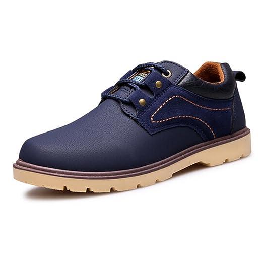 Spritech(TM) Men's Fashion British Comfort Non-slip Round Toe Work Shoe Flat Martin Boots Blue