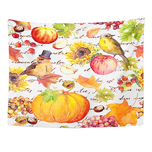 Plbfgfcover Design Thanksgiving Birds Fruits and Vegetables Pumpkin Apples Grape Autumn Leaves Creative Home Decor Wall Hanging Tapestry