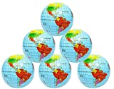 Kicko Inflatable World Globe - 16 Inch 6 Pack Political and Topographical Globes, Learning Resources