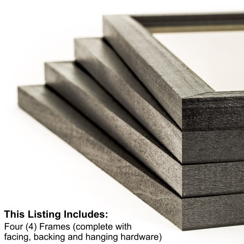 Craig Frames 7171610BK 16 by 20-Inch Picture Frame 4-Piece Set, Solid Wood, .84-Inch Wide, Black