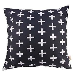 "HOSL® Cotton Linen Throw Pillow Case Decorative Cushion Cover Pillowcase -White Plus Black background Square 18"""