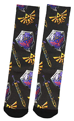 - The Legend Of Zelda Twilight Princess Shield Sword Sublimated Crew Socks 1 Pair