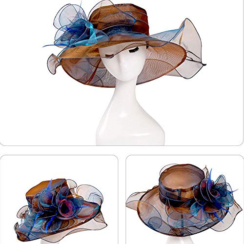 Aolvo Women Foldable Organza Church Hat - Lady Fascinator Tea Party Wedding Hat UV-Anti Cap With Ruffles Wide Brim For Derby