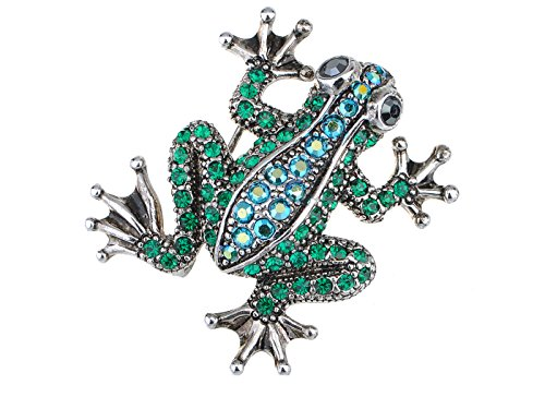 Alilang Silvery Tone Green Blue Rhinestones Poison Water Frog Toad Brooch Pin