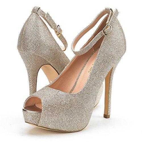 Paio Di Scarpe Da Donna Womens Swan-10 Tacco Alto Con Plateau E Glitter Oro