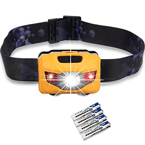 LED Headlamps Flashlight, Zukvye Cree LED Headlamp with Red Lights,Waterproof Head Light for Running, Camping, Reading, Kids, DIY & More - 4 AAA batteries included(black)