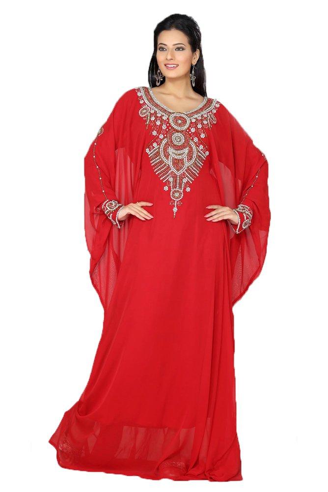 Kolkozy Fashion Women's Embroidery Kaftan Dress Abaya Red Size 1X