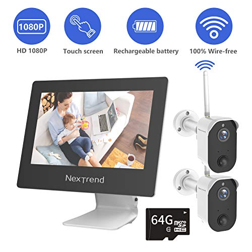 【2019 New】 Security Camera Wireless, NexTrend Rechargeable Battery Camera, 100% Wire-Free HD Indoor/Outdoor 1080p Camera with 2-Way Audio, Night Vision, PIR Motion Detection for Baby/Pet/Home(2 Pcs) ()