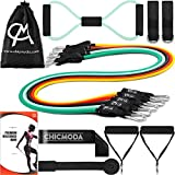 Cheap CHICMODA 14pc Resistance Bands Set Exercise Bands with 5 Tube Bands, Door Anchor, Ankle Straps, Handles, Stretch Loop Band, and Carry Bag for Home Gym Workouts, Physical Therapy, Weight Training
