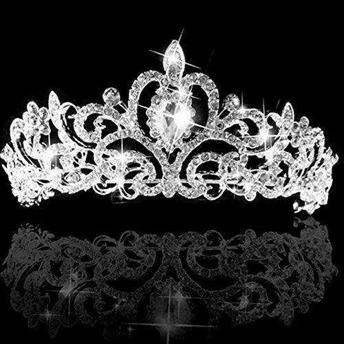Elec Comb (Wedding Bridal Crystal Tiara Crowns Princess Queen Pageant Prom Austrian Stunning Rhinestone Veil Tiara Comb Headband Wedding Hair Piece Accessory)