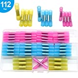 Yosawa 112 Pieces Heat Shrink Butt Connectors Electrical Wire Crimp Connector Insulated Waterproof Marine Automotive Grade Terminal Set 10-22 AWG