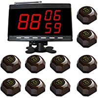 SINGCALL Wireless Service Calling System for Company,Prison,Wireless System,10 pcs One button Bell and 1 pc Black Display Panel Receiver APE9300