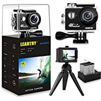 LeadTry HP7 4K Action Camera, WIFI Ultra HD Waterproof Diving Sports DV Camcorder 12MP 170 Degree Wide Angle 2 inch LCD Screen/ 2 Rechargeable Batteries (1350mAh)/ 25 Accessories