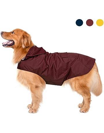 e2a011725a3 Dog Raincoat with Hood & Collar Hole & Safe Reflective Strips,Ultra-Light  Breathable