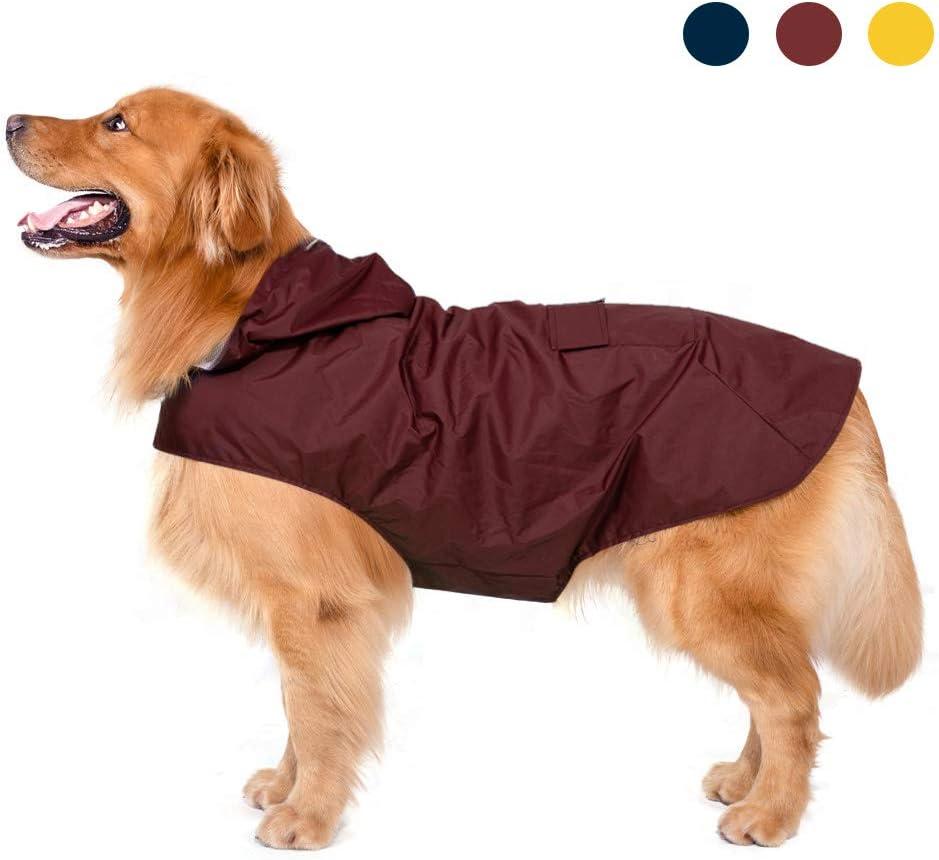 Zellar Impermeable para Perros con Capucha y Collar Agujero y Tiras reflectoras seguras, Ultra-Light Transpirable Impermeable 100% Chaqueta para Lluvia medianos Perro de Raza Grande