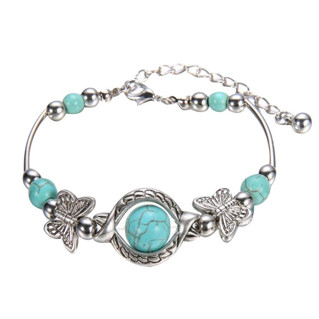 Moda para ni/ñas y mujeres Lomsarsh Pulsera de vin y pulsera de plata Turquesa natural tallada Pulsera de mariposa Colgante Pulsera de mujer