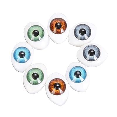 4 Couleurs 8pcs Yeux Ovals Plastique à Dos Creux pour Poupée Masque DIY 6mm