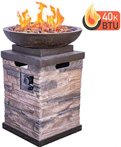 Bond Manufacturing 63172 Newcastle Propane Firebowl Column Realistic Look Firepit Heater Lava Rock 40,000 BTU Outdoor Gas Fire Pit 20 lb, Natural Stone