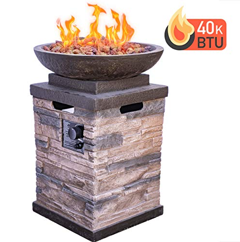 Bond Manufacturing 63172 Newcastle Propane Firebowl Column Realistic Look Firepit Heater Lava Rock 40,000 BTU Outdoor Gas Fire Pit 20 lb, Natural Stone - Make sure this fits                by entering your model number. Throw the ultimate s'mores party, host an outdoor date-night, tell spooky stories around the flame, or just enjoy a good book beside the inviting Newcastle Firebowl! 40,000 BTU heat output provides warmth and light - patio, outdoor-decor, fire-pits-outdoor-fireplaces - 51dksHdWwCL -