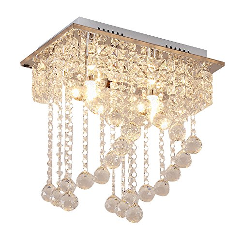 Cheap Lightess Flush Mount Ceiling Light 2-Light Crystal Chandelier Lighting Modern Chandeliers Crystal Pendant Light Fixture Decoration for Living Room Dining Room Bedroom Office, DY-A15