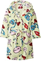 Up Past 8 Little Girls'  Fuzzy Hooded Robe