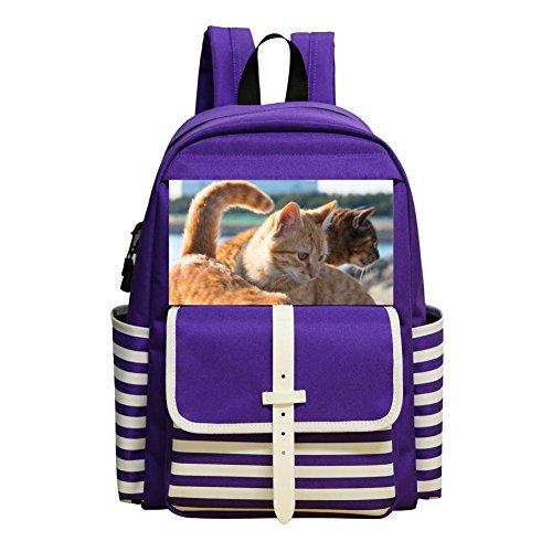 (Small School Backpack For Kindergarten Unisex Kids,Print Cats,Purple)