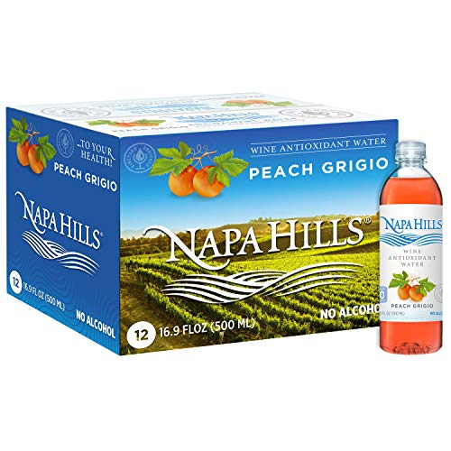 Napa Hills Flavored Water Beverage | 12 Pack | Peach Flavor | Red Wine Antioxidants | Natural Anti-Aging Polyphenol Drink | No Wine Taste, No Alcohol, No Sugar, No Calories